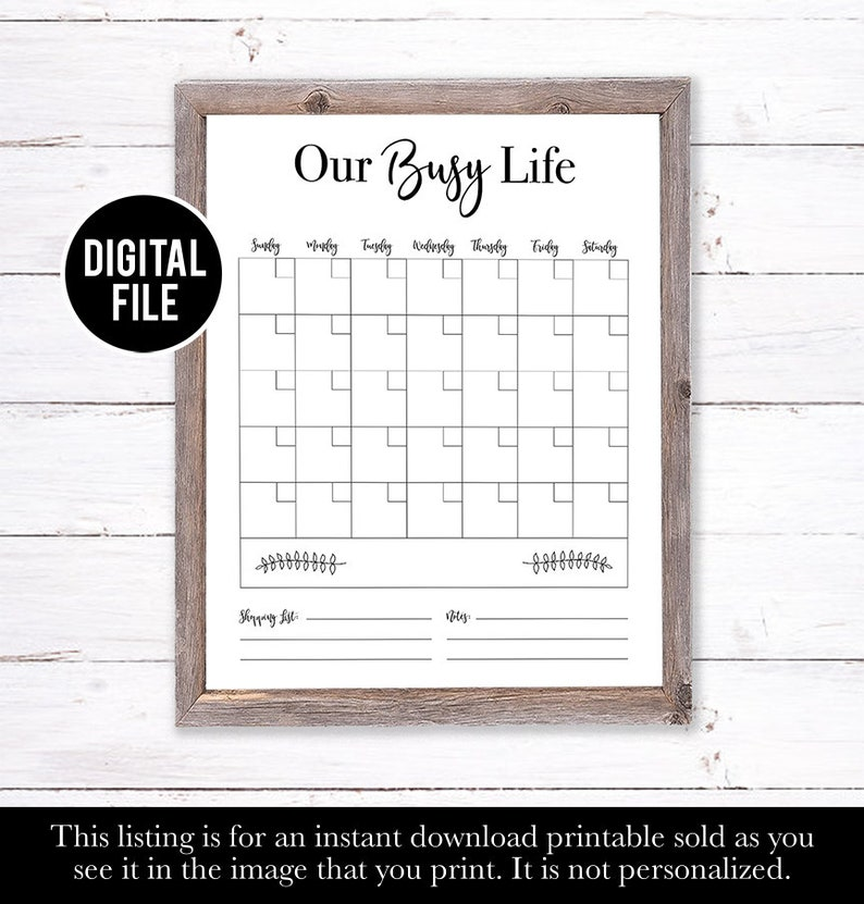 Eco Friendly Gifts gifts under 20 Printable Planner Dry Erase Calendar Printable Gifts for Her Farm House Decor Family Calendar