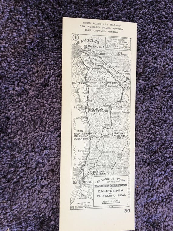 Aaa California Map.1915 Southern California Aaa Strip Map Famous Missions In Etsy