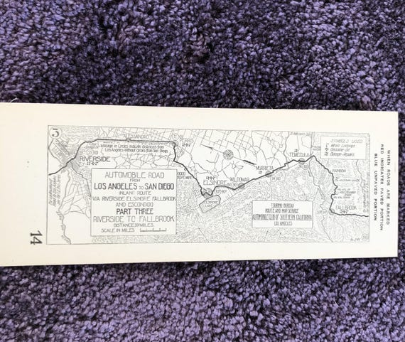 1917 Southern California AAA Strip Map - Los Angeles to San go Inland on interstate i-10 map, interstate 210 california map, us highway 10 map,