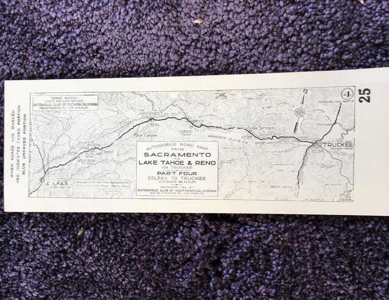 1916 Southern California AAA Strip Map - Sacramento to Lake Tahoe & Reno  Part 4 #25