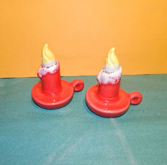 Vintage Salt And Pepper Shakers Red Candle Candlestick Etsy