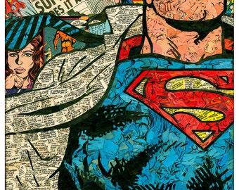 Superman Comic Collage - Giclee Print