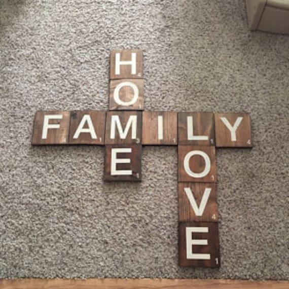 Home Love Family Scrabble Tile Wall Decor Rustic Home Decor | Etsy