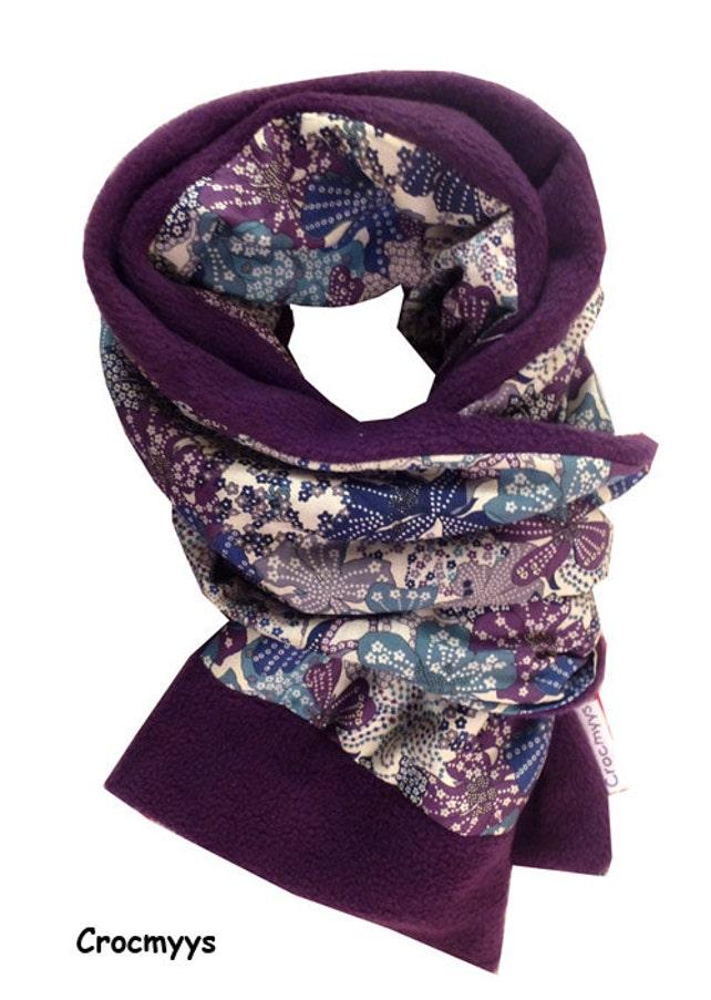 Echarpe liberty mauvey violet doublée polaire violette   Etsy 30b56549d40