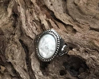 Amber Shell Sterling Silver Ring - Size 9 - Natural Amber Shell