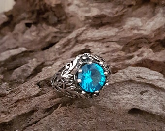 Vintage Aquamarine Sterling Silver Ring