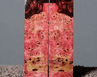 2 x scales poplar Stabilized wood burl block for knife handle