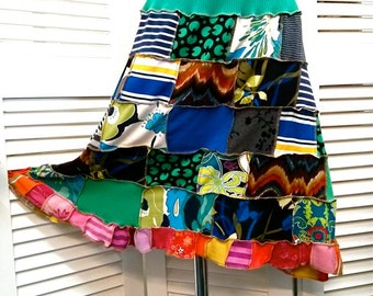 Women's hippie colourful upcycled skirt