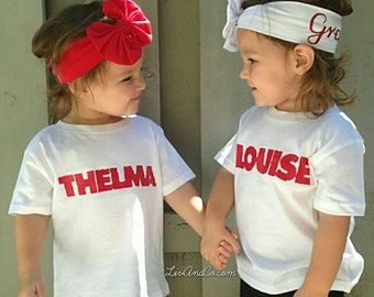 Thelma + Louise Twin Girl Outfits Twin Girl Baby Gifts Twin Shirts Twin Girls Gifts Girl Twin Outfits Twin Girls Baby Shower Gift Liv & Co.™
