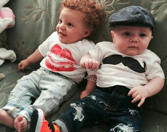 Boy Girl Twins Outfits Twins Baby Gifts Twins Baby Clothes Twins Shirts Twins Baby Shower Gifts Twin Baby Outfits Fraternal Twins Liv & Co.™
