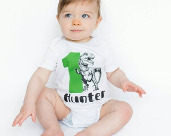 1st Birthday Boy Dinosaur Shirt First One Year Old Outfit CLiv CoTM