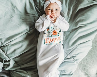 Personalized Knotted Baby Gown With Name Floral Hello My Name Is Infant Newborn Girl Coming Home Hospital Outfit Baby Shower Gift Liv & Co.™