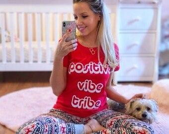 Positive Vibe Tribe™ Women's Shirt | Women's T-Shirt | Shirts For Women | Graphic Tees | Ladies T Shirts | Women's Clothing Tops Liv & Co.™