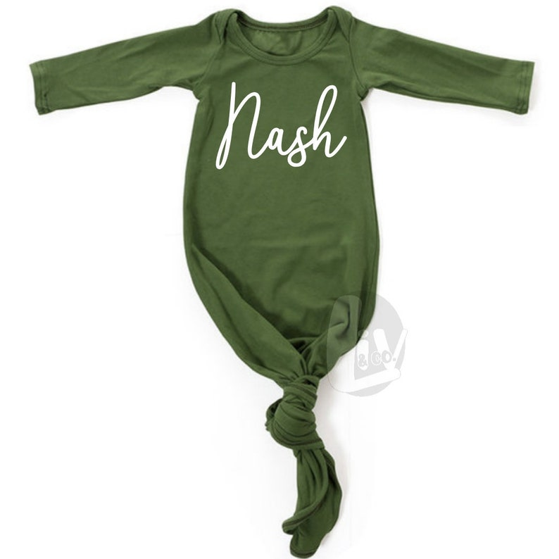 Personalized Knotted Baby Gown With Name Baby Gown Girl or Boy image 0