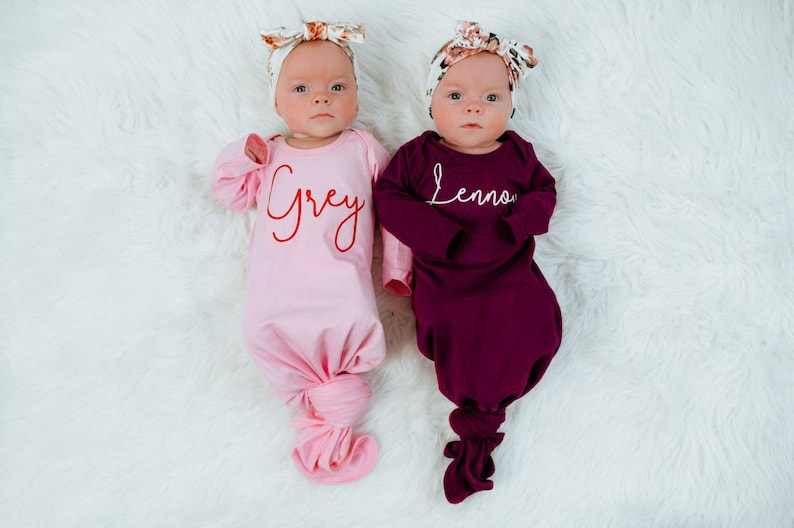 Baby Coming Home Hospital Outfit Personalized Knotted Baby image 0
