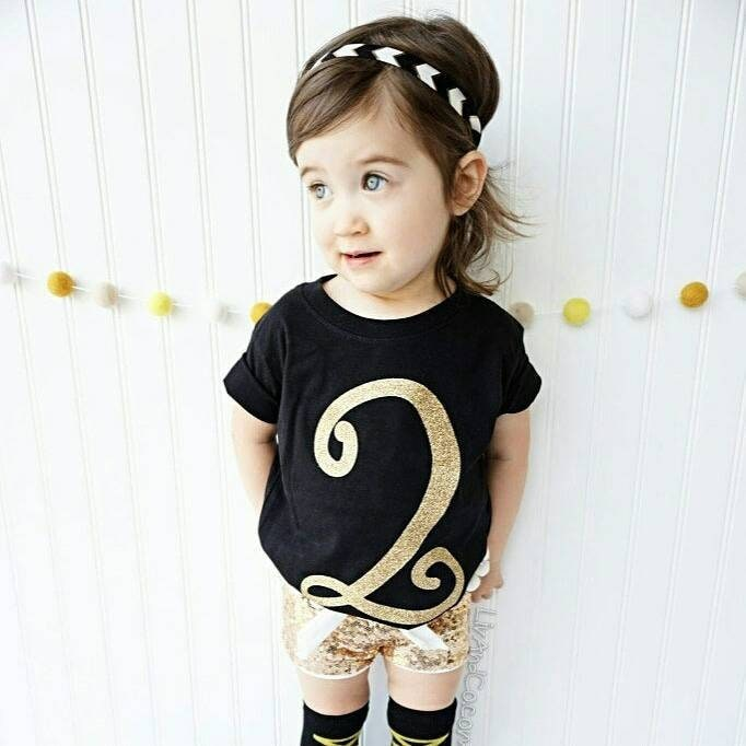Gold Glitter Two Shirt Year Old Girl Birthday Outfit 2nd