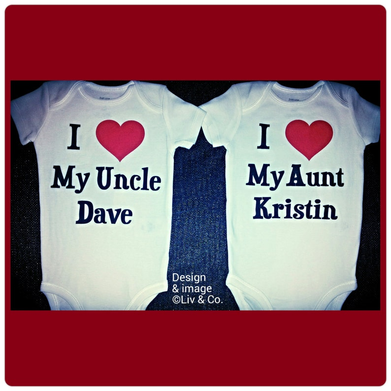 651ed3b75ab7 I Love My Aunt I Love My Uncle Baby Bodysuit and Toddler T | Etsy