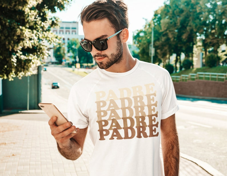 Ombre Padre Dad Shirt Father's Day Gift Pregnancy Reveal image 0