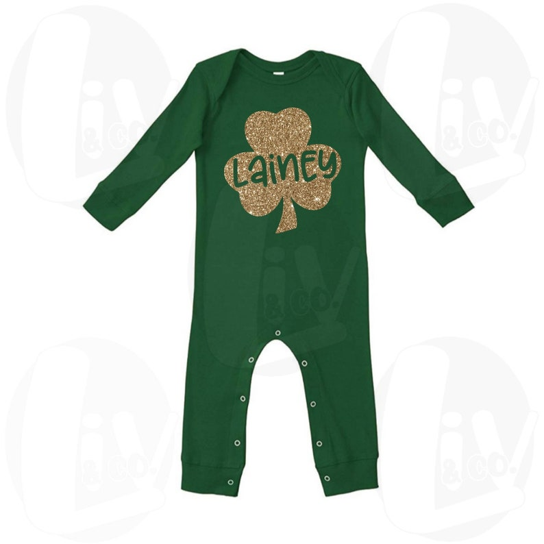 Personalized Baby Girl St Patricks Day Outfit Girl Long Sleeve image 0