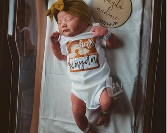 Personalized Newborn Coming Home Outfit Baby Clothes Hello My Name Is Infant Rainbow Baby Hospital Photo Outfit Baby Shower Gift Liv & Co.™