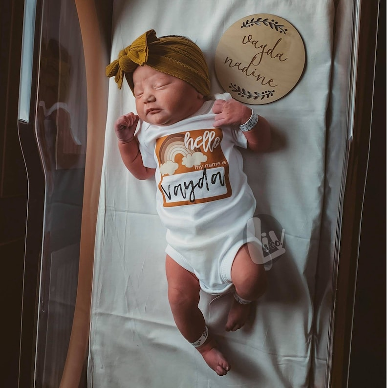 Personalized Newborn Coming Home Outfit Newborn Clothes Hello image 0