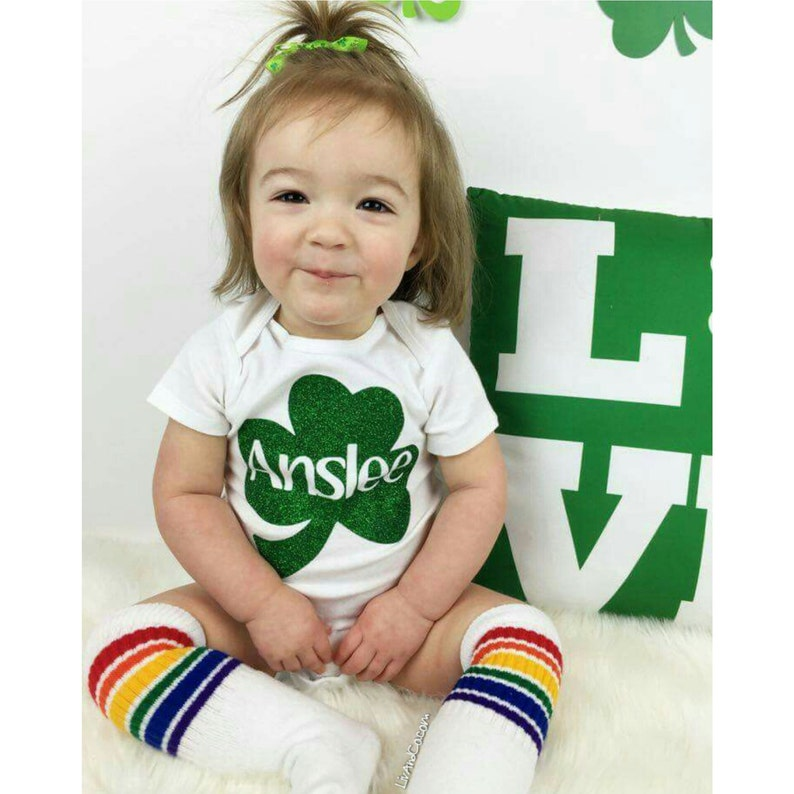 Infant Newborn Baby Girl Personalized St Patricks Day Outfit image 0