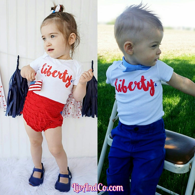 July 4th Infant Newborn Baby Toddler Boy or Girl Outfit Shirt image 0