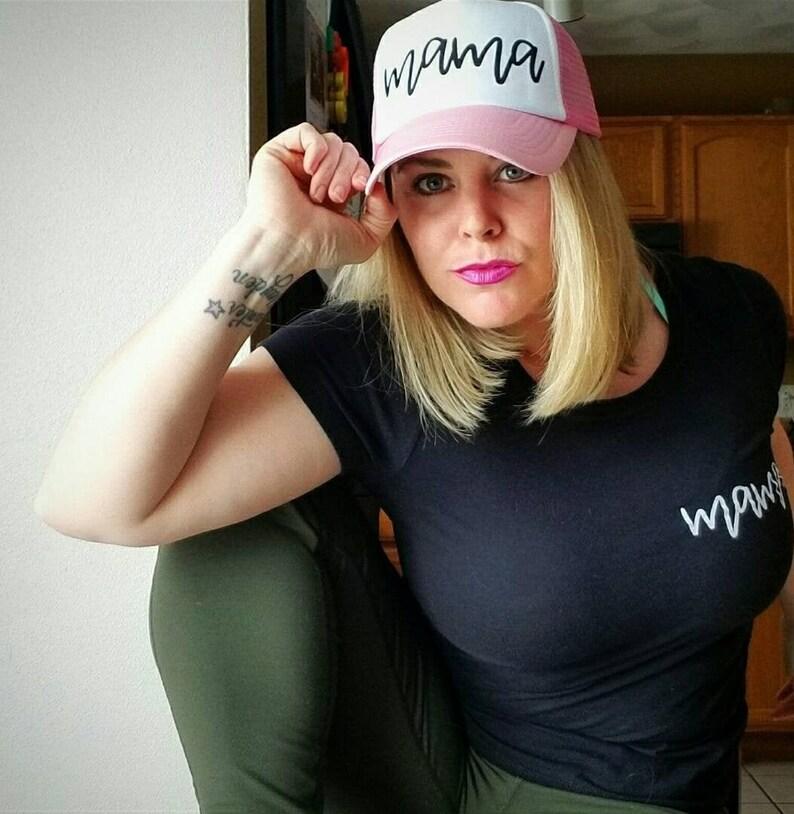Mama Mesh Trucker Hat Mom Hat Pregnancy Announcement image 0