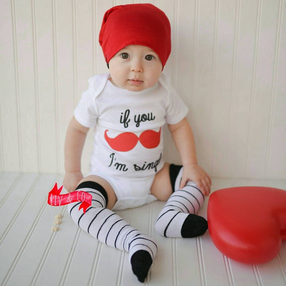 If You Mustache I M Single Funny Baby Boy Valentines Day Etsy