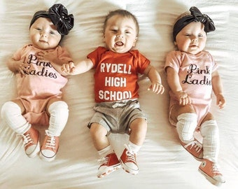 Grease Pink Ladies Halloween Costume Infant Newborn Baby Toddler Girl Halloween Outfit Shirt Newborn Costume Sock Hop 50s Party Liv & Co.™