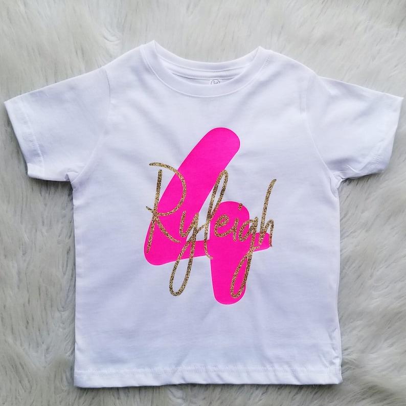 f9b9ebbfa Personalized Fourth Birthday Shirt Girl Four Year Old Birthday   Etsy