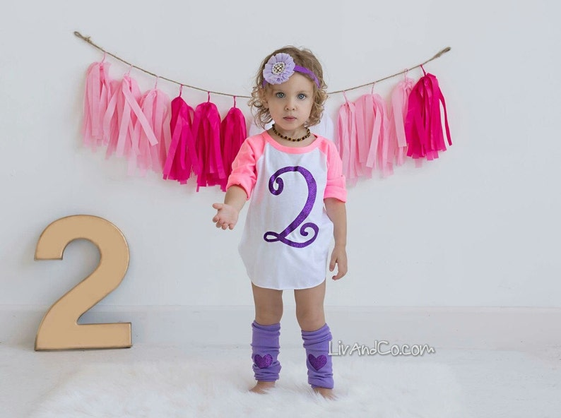 Two Shirt 2 Year Old Birthday Girl Party Outfit 2nd Glitter CLiv CoTM
