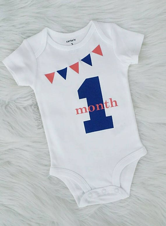 a79ce3431 1 Month Old Milestone Outfit for Newborn Baby Girls or Boys