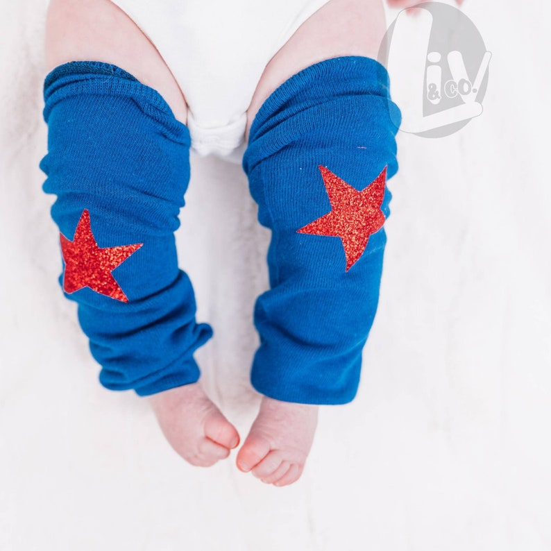 Toddler Baby Girl Leg Warmers Patriotic 4th of July Baby image 0