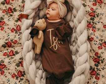 Newborn Baby Coming Home Outfit Personalized Knotted Baby Gown With Name Girl or Boy Baby Shower Gift Hospital Outfit Newborn Gift Liv & Co™