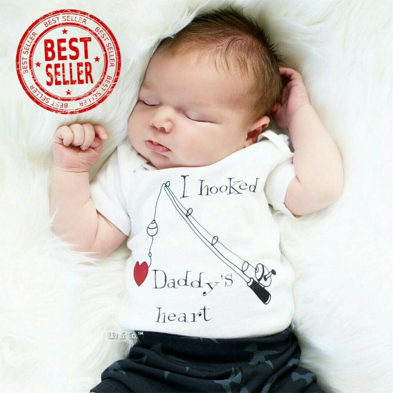 40782524fba9 I Hooked Daddys Heart Infant Newborn Baby Fishing Outfit Boy   Etsy