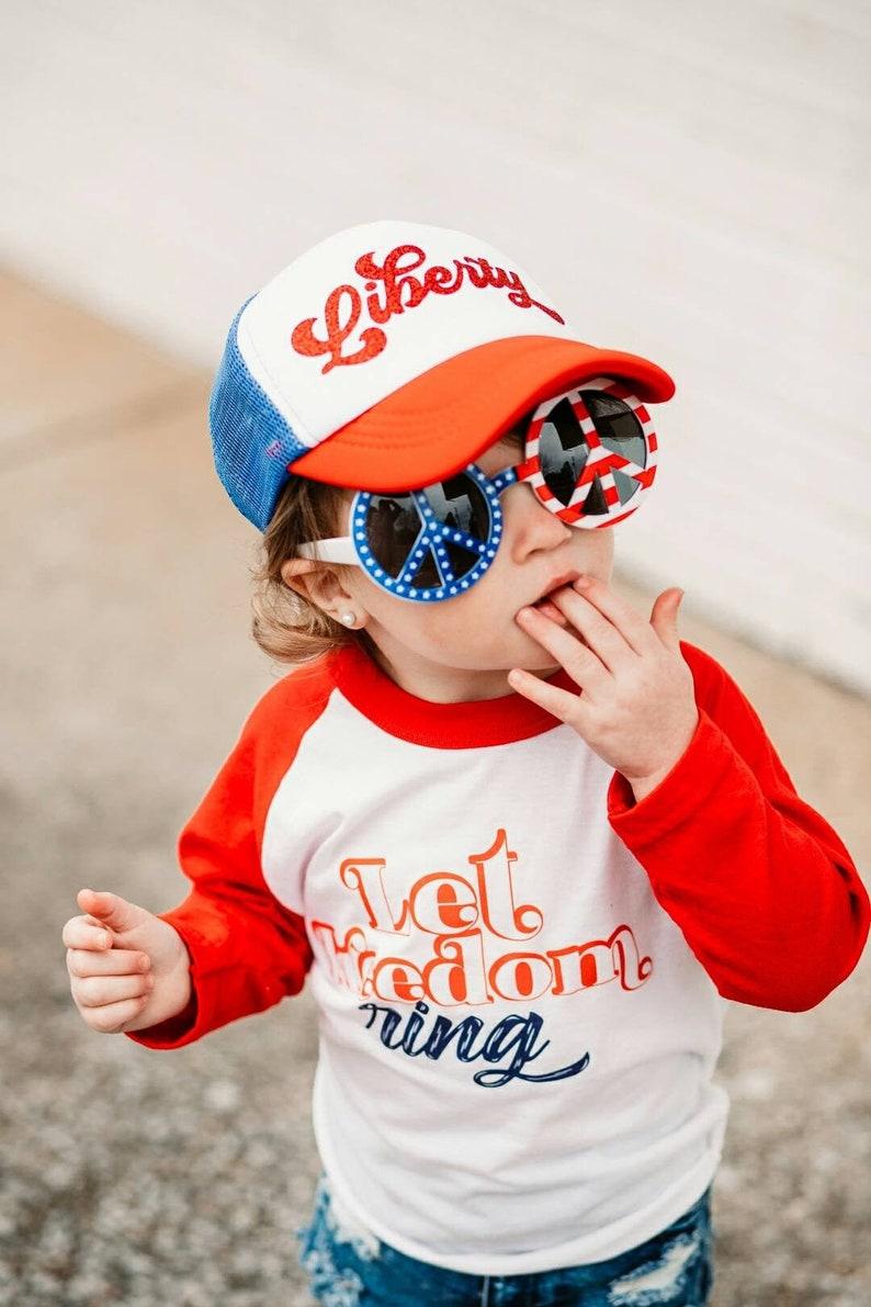 Liberty July 4th Toddler Hat Kid's Mesh Trucker Hat Cap image 0