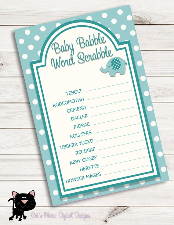 Baby Shower Games Word Scrabble Scramble Turquoise Etsy