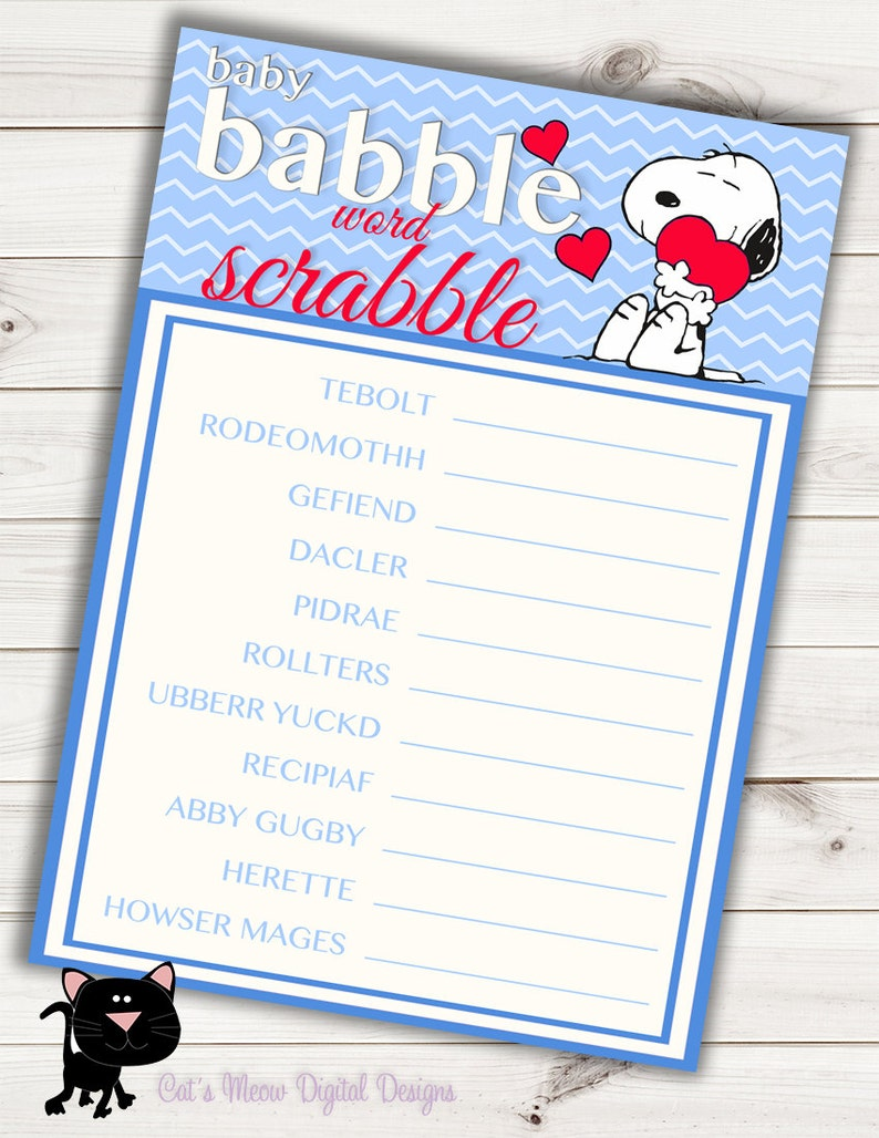 Snoopy Baby Shower Game Word Scrabble~Printable~INSTANT DOWNLOAD