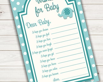 Baby Shower Games Wishes Card Turquoise Elephant~Printable~INSTANT DOWNLOAD