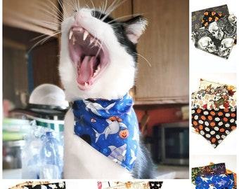 Fall & Halloween Cat Bandana Over the Collar Style, Fun Cat Bandana, Optional Name Personalization, Small Kitten Bandana, Tie On Cat Bandana