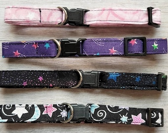 Stars Cat Collars with Safety Breakaway Clasp, Skinny Collars for Kittens, Small Cat Collar, Pick a Fun Pattern, Holographic Pink Purple