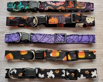 Halloween Cat Collars with Safety Breakaway Clasp, Skinny Cat Collar, Small Kitten Sizes, Male Cat Collars Female Cat Collars