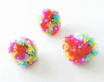 Colorful Puffs Cat Toys, Set of 4 Pom Poms Balls, For Kitten Play