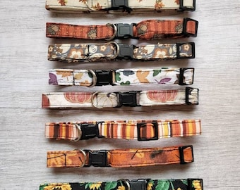 Fall Cat Collars with Breakaway Clasps, Durable Safety Release, Fun Patterns, Optional Small Kitten Size, Leaves Pumpkins Sunflowers