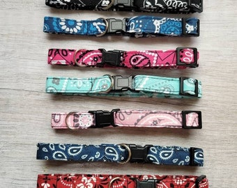 Bandana Cat Collars with Quick Release Clasp, Skinny Lightweight Collars, Small Kitten Size Optional, Bestseller Cat Collars