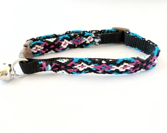 Friendship Bracelet Cat Collar, Safety Breakaway Clasp, Hand Knotted