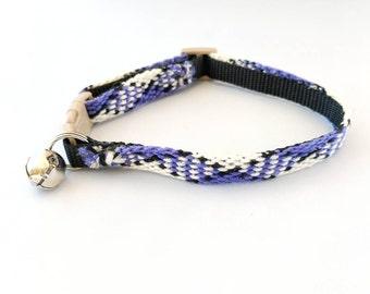 Handmade Cat Collar, Adjustable w/Safety Breakaway Clasp, Diamond Pattern Friendship Bracelet