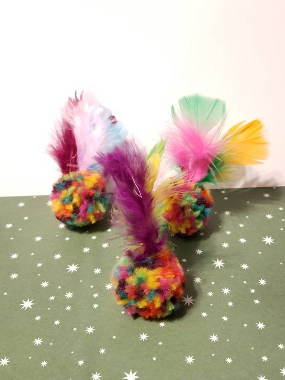Sets of Catnip Balls With Bells and Feathers