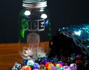 Dice and Adventure Fund Glass Jar Money Bank